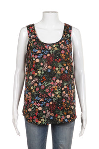 PHILOSOPHY Black Pink Floral Print Sleeveless Blouse Size M