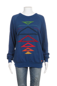 AVIATOR NATION Blue Tribal Embroidered Sweatshirt Size S