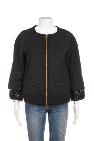 MONCLER Thin Shell Bomber Jacket Crop Sleeve Coat Size 4