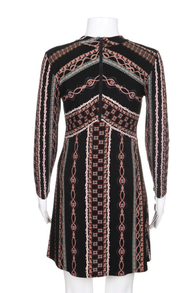 FREE PEOPLE Long Sleeve Dress Black Brown Printed Stretchy Size XS