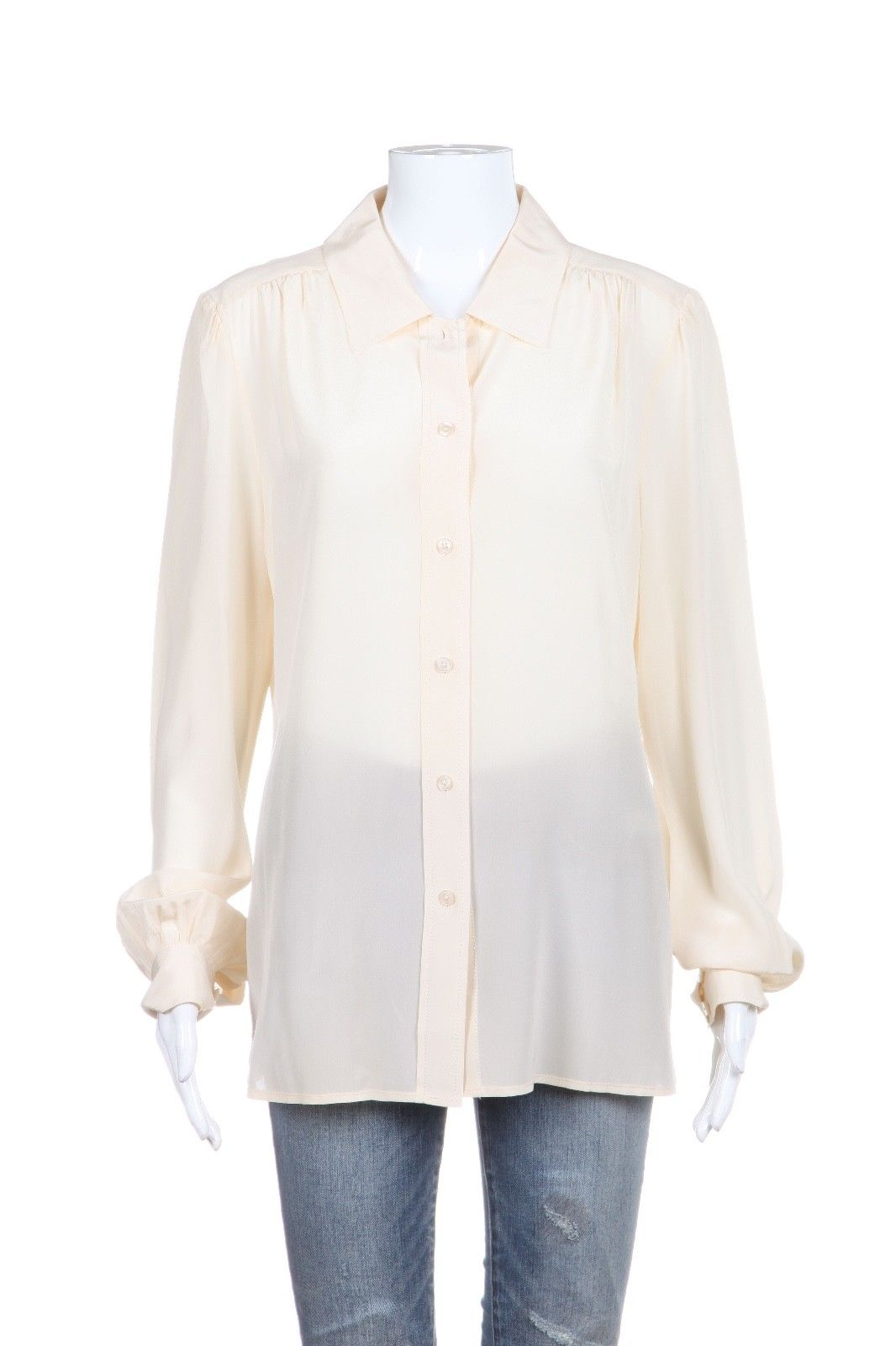 TORY BURCH Ivory Cream 100% Silk Button Down Blouse Size 12