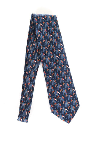 ERMENEGILDO ZEGNA Blue Red Flag Print Silk Neck Tie