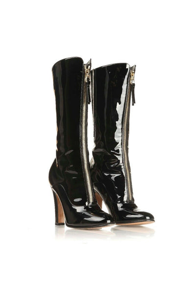 VALENTINO Patent Leather Heels Boots Gold Zipper Size 37