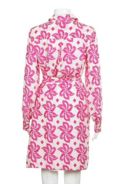 Pink White Shirt Dress W. Belt Tie Size 4