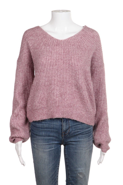 Chunky Pink Sweater Open Back Size M