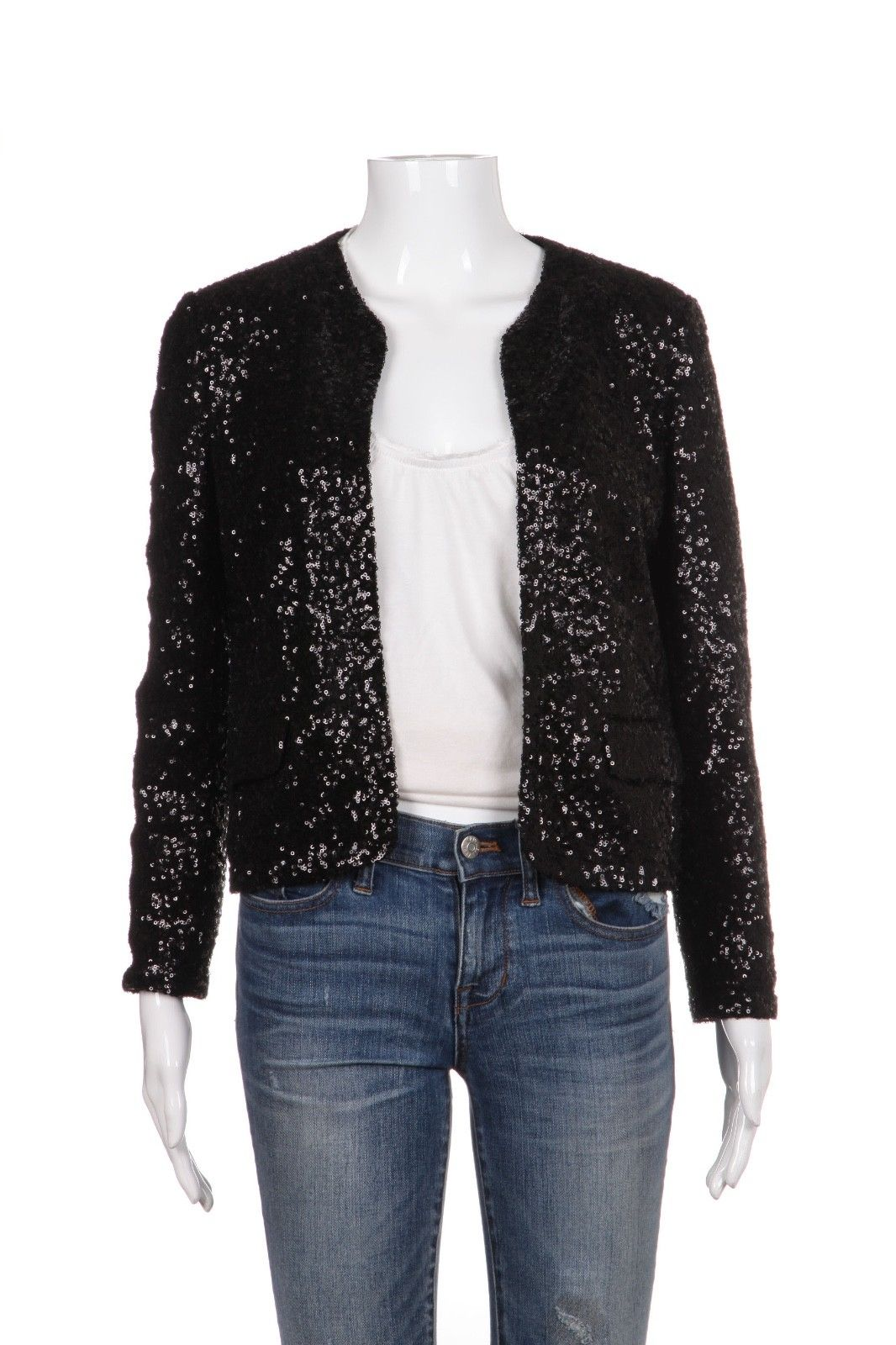 JUICY COUTURE Black Sequin Open Jacket Blazer Size S