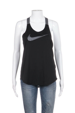 NIKE Dri-Fit Breath Black Tank Gray Strap Low Back Size S (New)