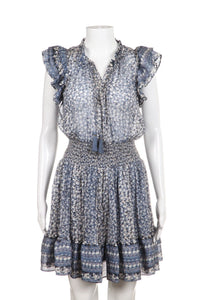 ULLA JOHNSON Nyssa Silk Ruffle Mini Dress Size 0