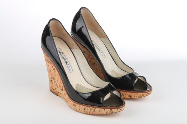 BRIAN ATWOOD Black Patent Cork Sole Wedge Heels Size 39