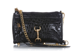 REBECCA MINKOFF Black Croc Leather Mini Mac Crossbody Shoulder Bag