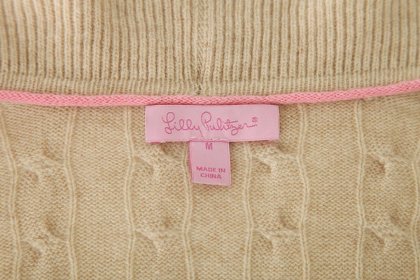LILLY PULITZER Beige Tan 100% Cashmere Cable Knit Cardigan Ruffled Size M