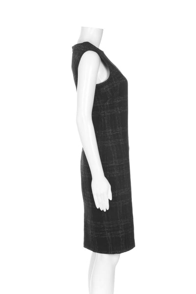 BARNEYS NEW YORK Plaid Wool Sheath Dress - side view