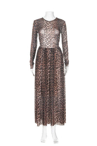 Ganni Tilden Mesh Leopard Maxi Dress