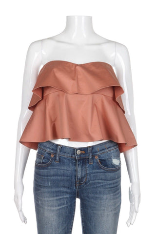 REBECCA TAYLOR Crop Strapless Satin Nude Glow Ruffle Top (New)