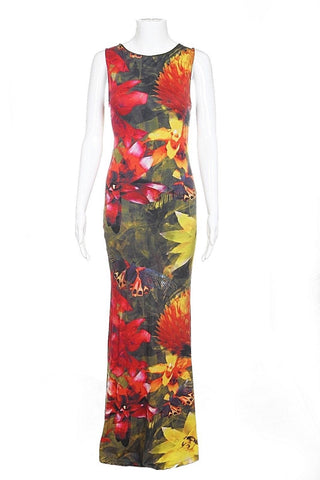 ALICE + OLIVIA Maxi Dress Small Floral Print Fitted Open Back Gown Red Yellow