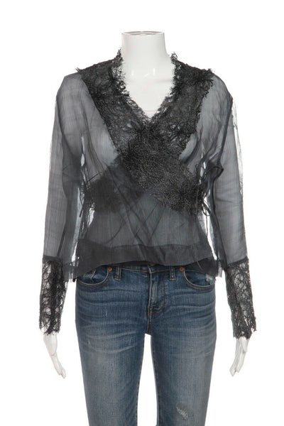 MARIANNE KOOIMAN Long Sleeve Sheer Lace Wrap Top Size 3
