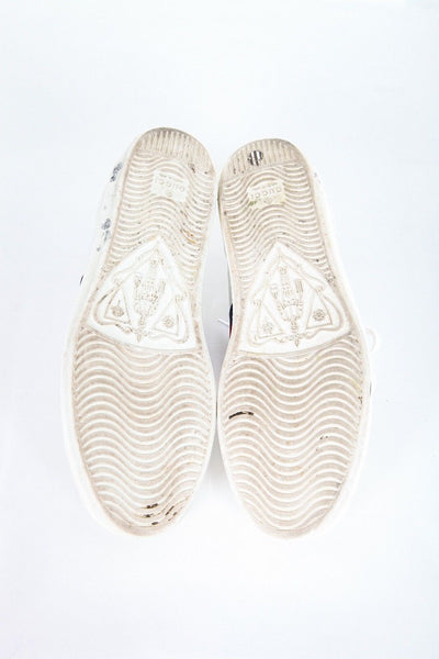 GUCCI New Ace Leather Sneakers White Gold Star Bees Size 37.5