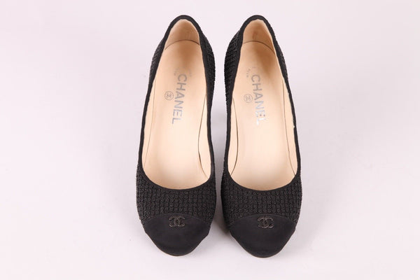 CHANEL Satin Beaded CC Cap Toe Logo Pumps Size 38