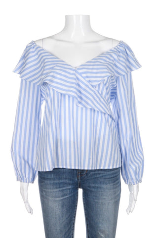 SANCTUARY Secret Garden Blue White Striped Ruffled Off Shoulder Top Shirt (New)