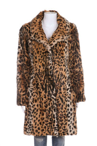 TORY BURCH Leopard Print Fur Coat Size 6