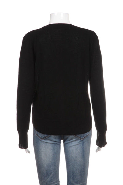 360CASHMERE Black Cardigan Sweater Slit Sleeves Size S
