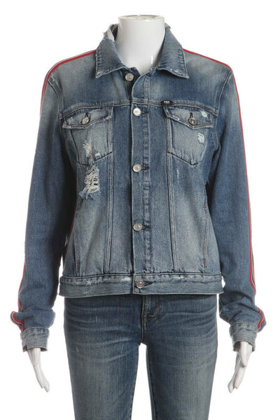 EIGHT FIELD OF FREEDOM Jean Distressed Jacket Size L