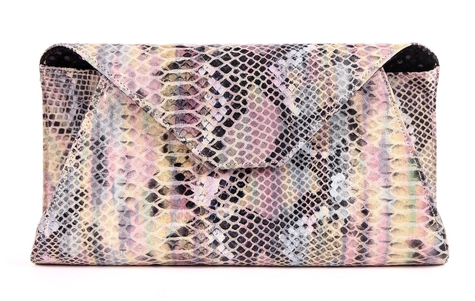 ZARA TEREZ Clutch Bag in Snakeskin Print Pink Blue Black
