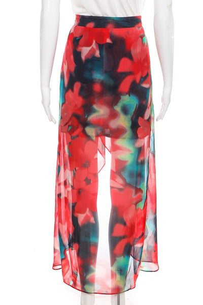 ALICE MOON Flowy Red Floral Print High-Low Maxi Skirt Size S