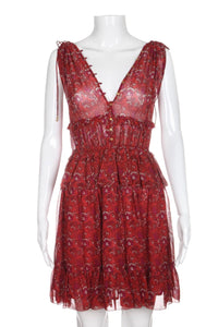 ULLA JOHNSON Noelle Red Floral Silk Dress Tiered Tassel Tie Size 2