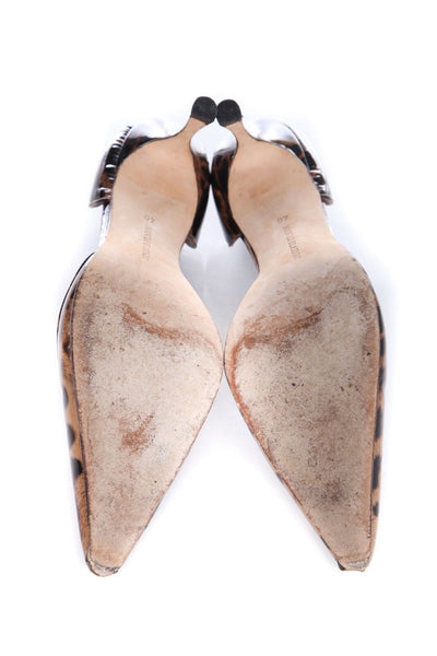 MANOLO BLAHNIK Patent Leopard Print D'Orsay Heels Pointed Pumps Size 40