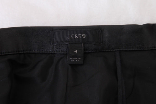 J.CREW Black Pleated Faux Leather Mini Flared Skirt Size 4