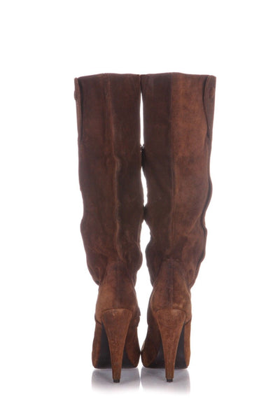 ELIZABETH & JAMES Knee High Brown Suede Platform Heels Boots Size 7.5