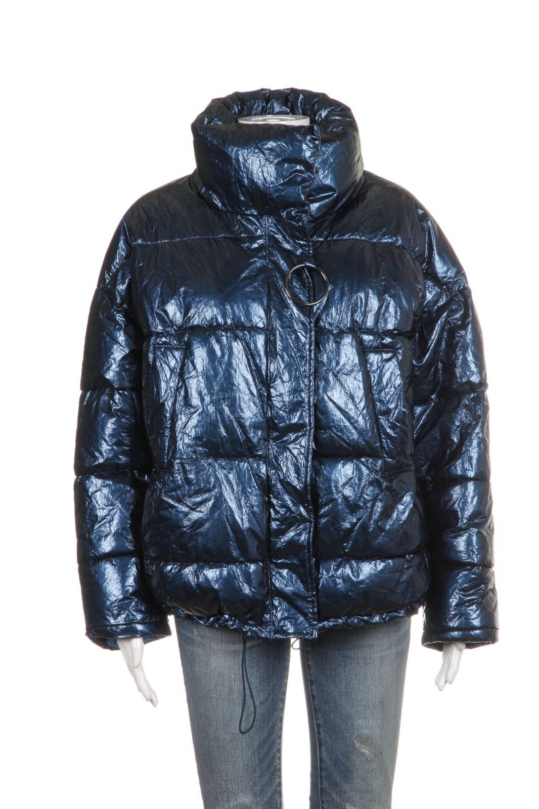 ZARA Metallic Quilted Puffer Coat Size M