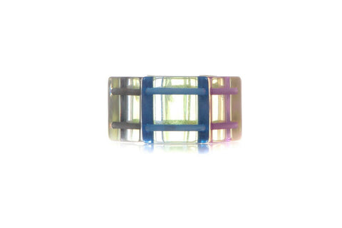 Clear Multi Colored Elastic Oversized Bracelet