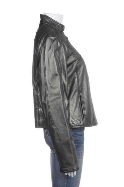 ELIE TAHARI Gray Metallic Leather Biker Moto Jacket Size L