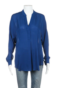 VINCE Long Sleeve Blue Blouse 100% Silk Size XS