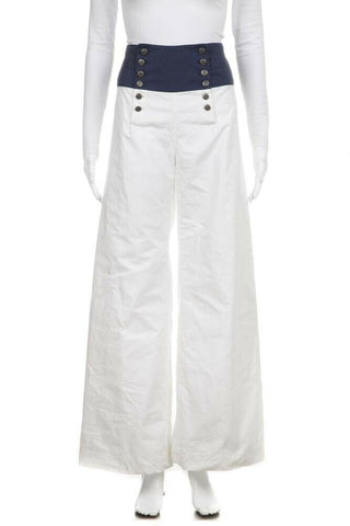 White Blue Waist Wide Leg Pants Nautical Size 6