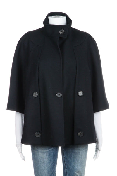 Derek lam coat jacket wool cashmere blue navy peacoat cape