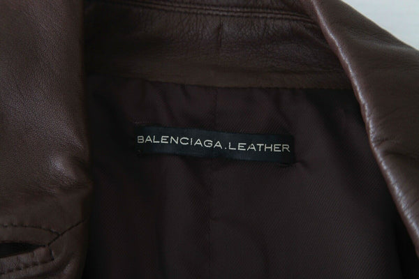 BALENCIAGA Double Breasted Leather Coat Size 38 (M)