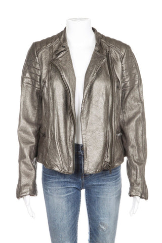 ALLSAINTS Silver Metallic Leather Biker Moto Jacket Size 8