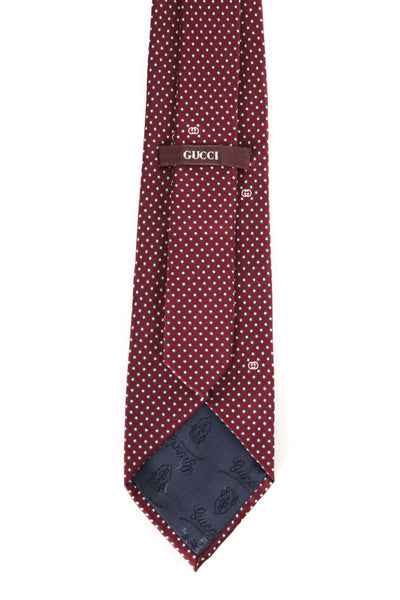 GUCCI Men's Silk Neck Tie Maroon Cream Print