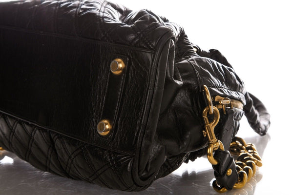 MARC JACOBS Julianne Stam Black Quilted Leather Shoulder Bag Gold Chain