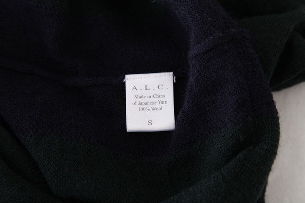 A.L.C. Thin Knit Green Navy Blue 100% Wool Sweater Size S