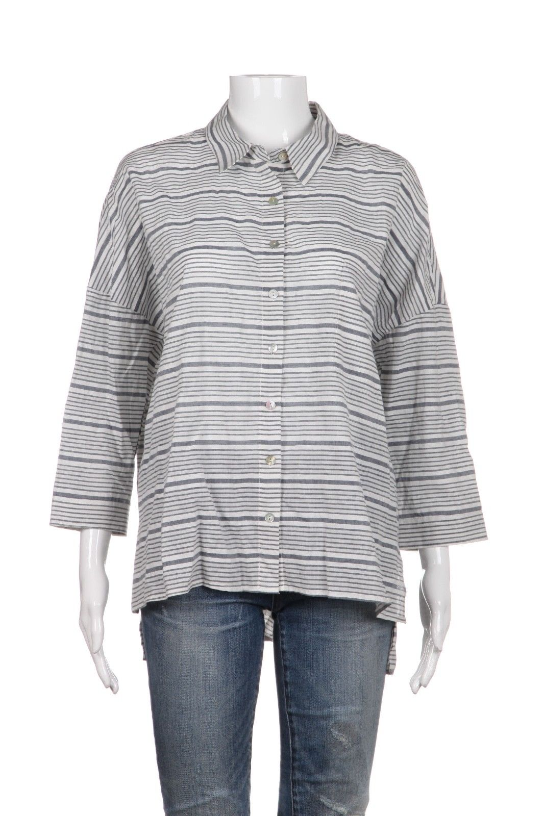 JOA Los Angeles Blue White Striped Button Down Shirt Top Size L (New)