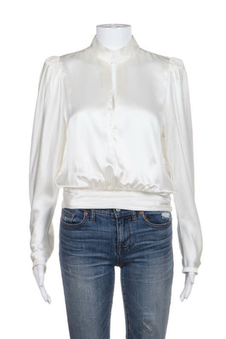 FRAME Satin Off White Keyhole Blouse High Neck 100% Silk Size S (New)