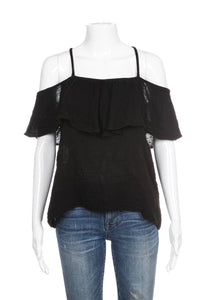 MICHAEL STARS Black Gauze Cold Shoulder Ruffled Top Tee Size S