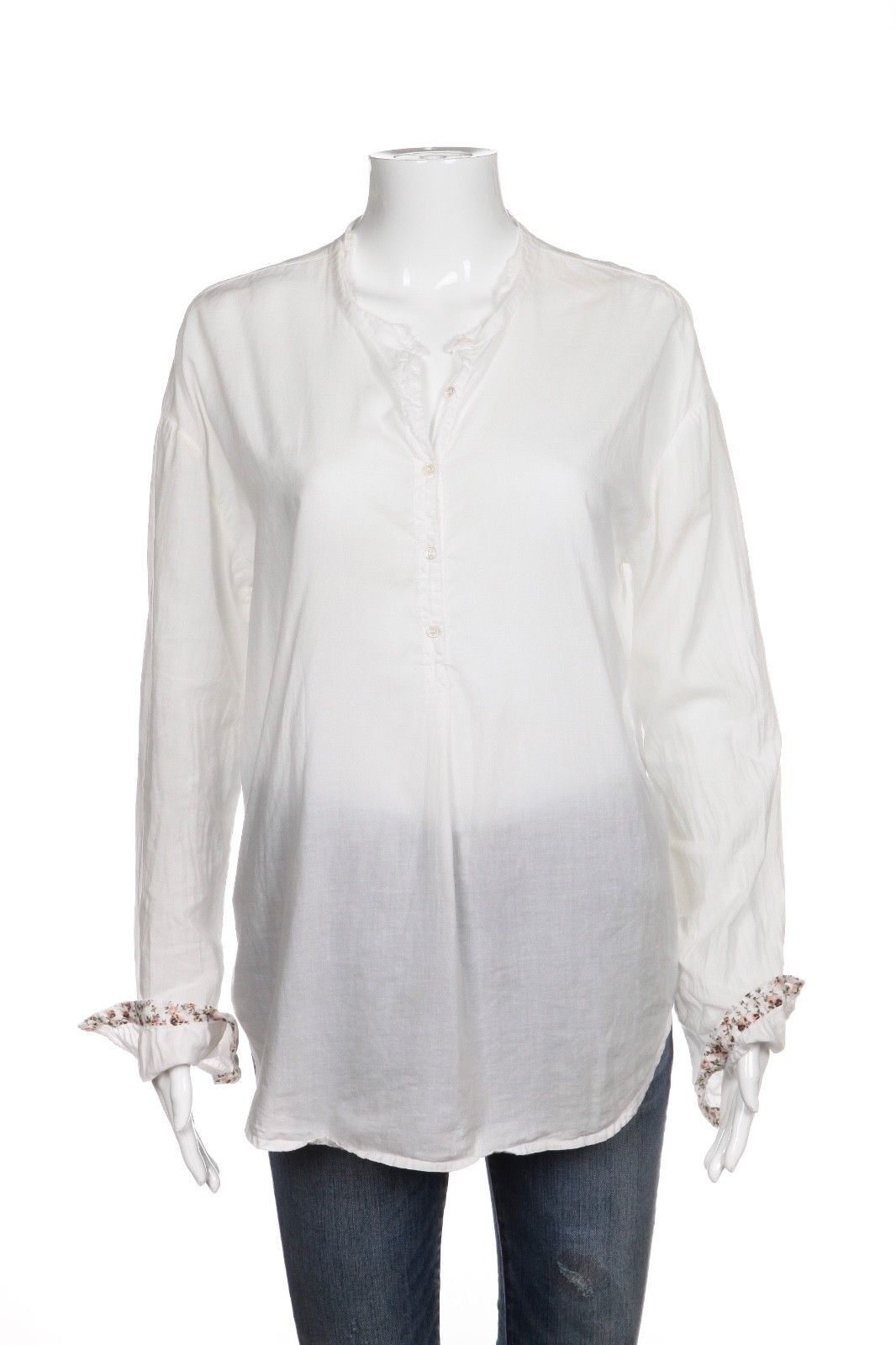 XIRENA Tunic Shirt With Floral Print Cuffs Size S