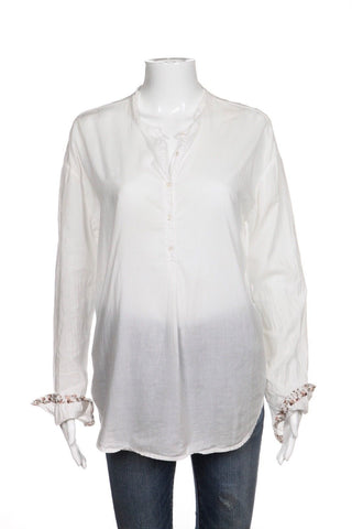 XIRENA White Tunic Shirt With Floral Print Cuffs Size S