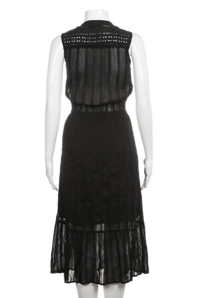 Black Midi Dress Crochet Detail Tassels Size 2