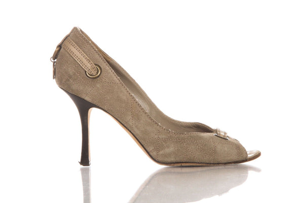 DIOR Suede Open Toe Pumps Size 38